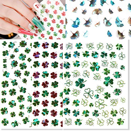 3D Shamrock Nail Art Stickers Lucky Clover Nail Decals Laser St.Patrick's Day Ginkgo Leaf Flowers Spring Design Nail Art Supplies Self Adhesive Nail Stickers for Acrylic Nail Decorations 9 Sheets
