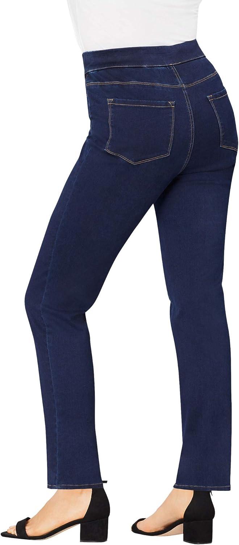 Roamans Women's Plus Size The Straight-Leg No-Gap Jean Pull On Denim
