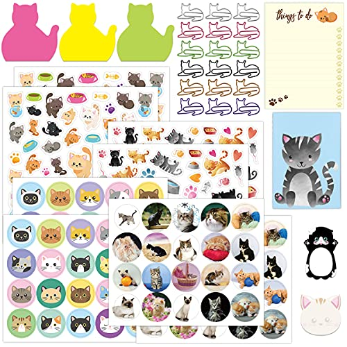Cute Cat Stationary Set Cat Stickers Cat Sticky Notes Memo Pads Paper Clips Notepads for Office School Gift Cat Lovers