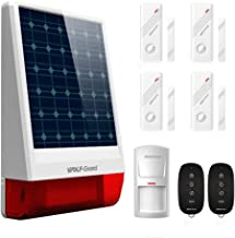 Solar Powered Siren, Wolf-Guard Wireless LB-W06 Outdoor Solar Burglar Siren DIY Home Security Alarm System,with PIR Motion Detector, Door Window Sensor and Remote Controller,120dB