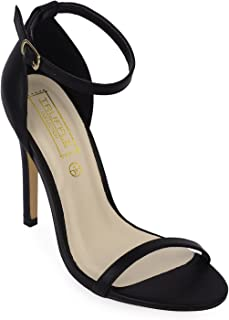 TRUFFLE COLLECTION Women's HELEN251 Black PU Fashion Sandals