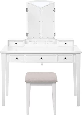 VASAGLE Makeup Vanity Set, Makeup Dressing Table Set with Tri-Fold Mirror, Large Table Top, 5 Drawers, Removable Organizer, Cushioned Stool, White URDT130W01