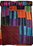 Tribal Asian Textiles Patchwork-Decke / Tagesdecke, Blockdruck, Kantha-Überwurf, Kantha-Überwurf, Kantha-Rallies, indische Steppdecke (mehrfarbig)