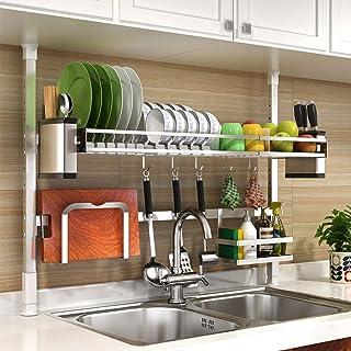 Égouttoir à Vaisselle réglable, Support de séchage à Vaisselle Extensible sur évier Porte-ustensiles Porte-ustensiles de R...