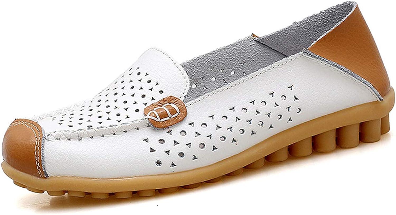 Owen Moll Women White Flats, Summer Fashion Hollow Slip On Walking Loafers shoes