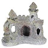 Cikonielf Acuario Castillo Decoraciones Casa de Resina Artificial Pecera Castillo Ruina Adorno Escondite para Peces pequeños Camarones Tortuga(Color Oscuro)