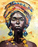 Faicai Art 100% Handmade Orange Abstrakte Malerei Afrika Abstrakt Modern Life Collection Afrikanische Frau Hochformat Messer Dick Textur Leinwand Öl Gemälde Wand Deko Sexy Lady Bilder 28x36inch
