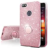 ZTE Blade X Z965 Case,Silverback Girls Bling Glitter Sparkle Cute Phone Case with 360 Rotating Ring Stand, Soft TPU Outer Cover + Hard PC Inner Shell Skin for ZTE Blade X Z965 -Rose Gold
