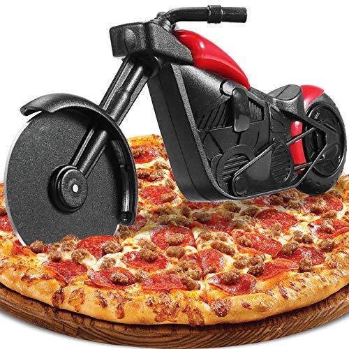 Motorrad Pizzaschneider, Lustige Pizza Schneider Edelstahl Kunststoff Pizzaroller Pizzarad Pizzamesser, Pizza Cutter mit Scharfem Schneiderad & Ständer für Weihnachten Kreativ Geschenke (Schwarz)