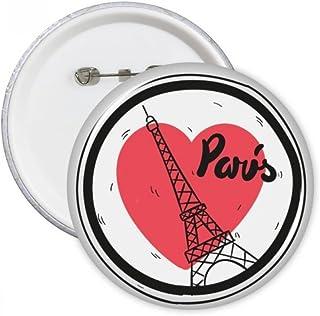 DIYthinker Ville de Paris France Tour Eiffel Amour Bouton rond Badge Pins Vêtements Décoration cadeau 5pcs S Multicolore