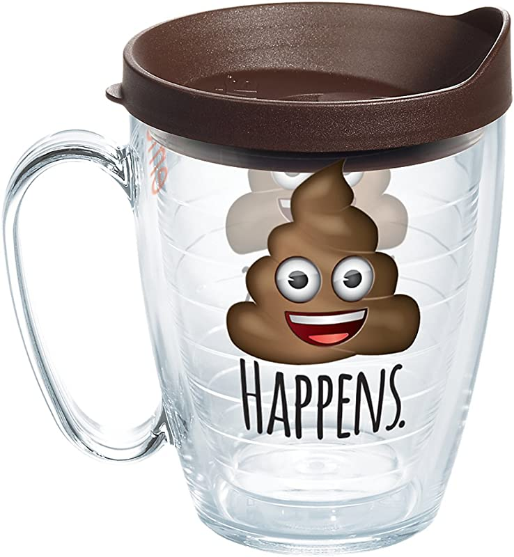 Tervis 1258242 Emoji Poop Happens Insulated Tumbler With Wrap And Brown Lid 16oz Mug Clear