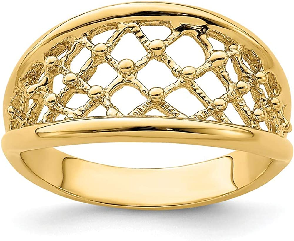14k Yellow Gold Mesh Ring Tapered Wedding Band Size 7.00 Fine Jewelry For Women Gifts For Her