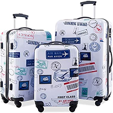 Flieks Graphic Print Luggage Set 3 Piece ABS + PC Spinner Travel Suitcase (By Air Mail)