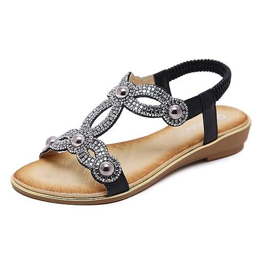 42d6a0b88 Meeshine Women T-Strap Rhinestone Beaded Gladiator Flat Sandals Summer  Beach Sandal