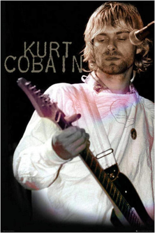 Kurt Cobain - Póster de música en vivo Guitarra Nirvana Impresión de arte de pared Impresión de lienzo Arte de pared Pintura Sala de estar Decoración para el hogar Regalo -20x30 in Sin marco