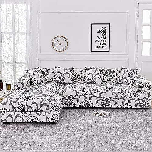 WXQY Funda de sofá Floral para Sala de Estar, Funda de sofá reclinable elástica, Funda de sofá elástica, Funda de sofá en Forma de L, Toalla de sofá A9, 2 plazas