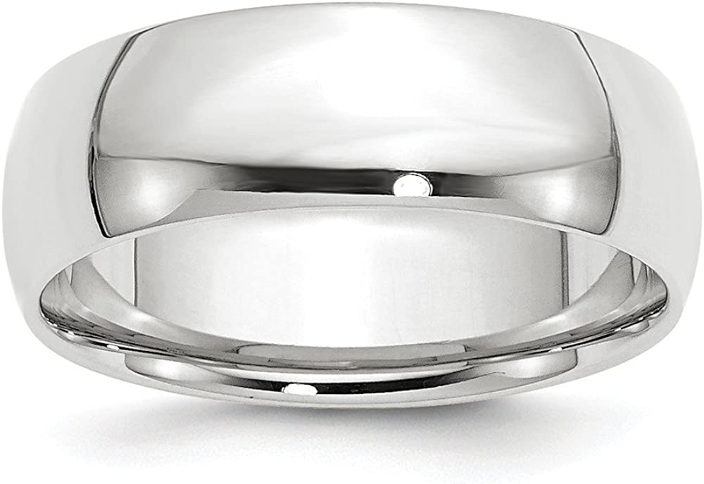 14k White Gold 7mm Comfort Fit Plain Classic Wedding Band Ring