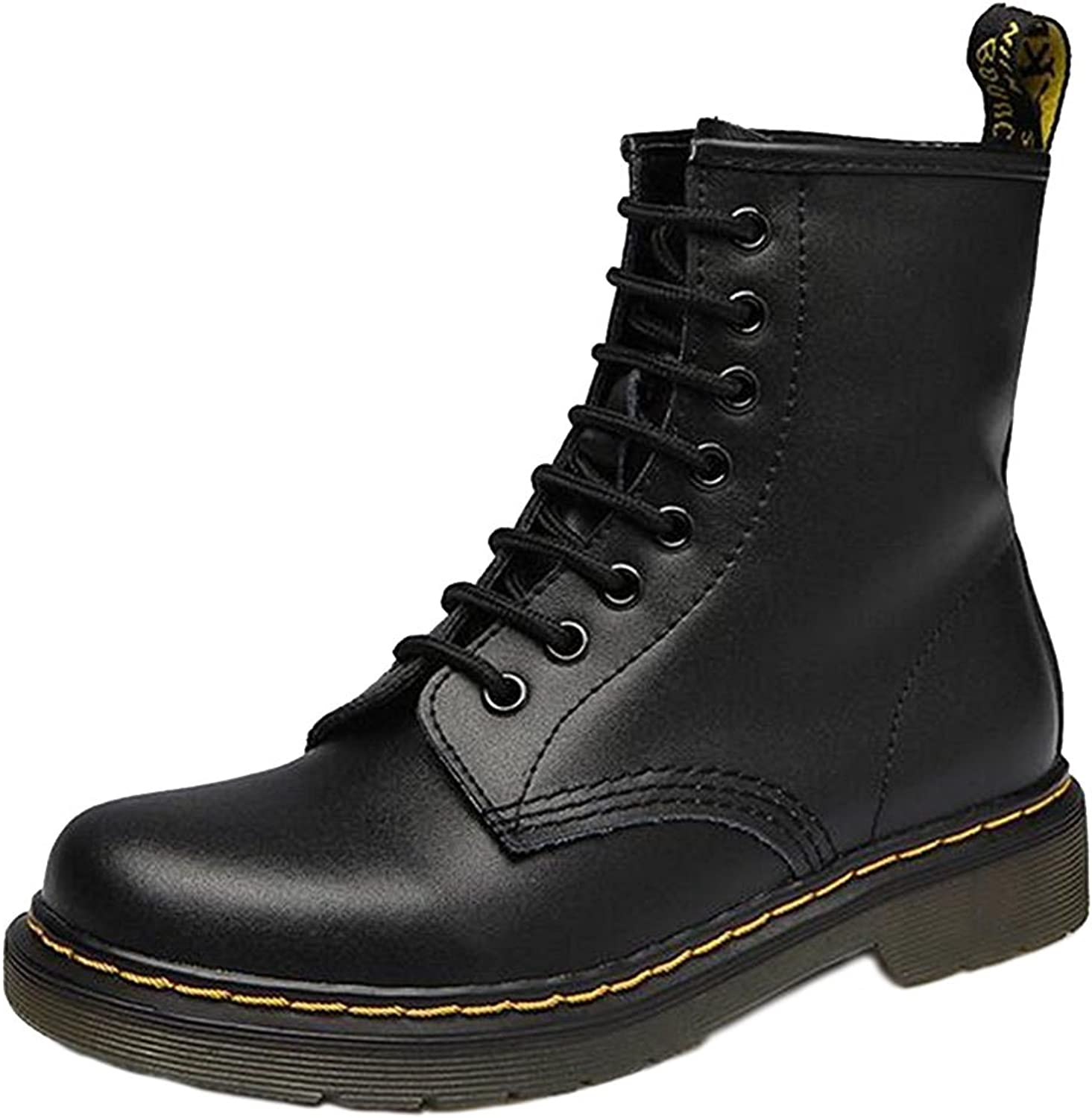 DADAWEN Unisex Men's Women's Lace Up Middle Ankle Boots with Two Choices(No Fur for Fall or Fur for Winter)