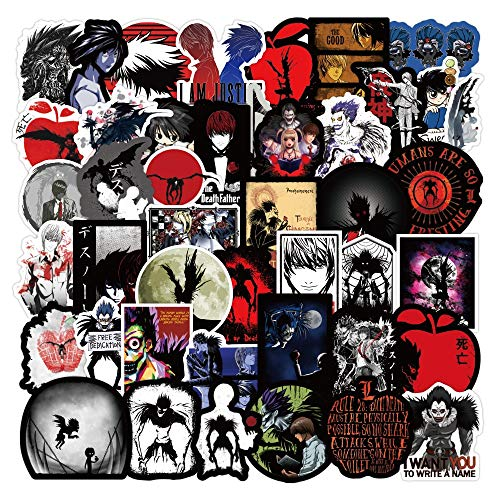 LVLUO Cool Death Note Anime Pegatina Impermeable Equipaje Guitarra monopatín Impermeable DIY Cool Doodle Pegatina 50 Uds