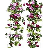 JUSTOYOU 2 Pack 7.8FT 13 Cabezas de Doble Color Artificial Falso Rose Garland Vides Colgando Flores de Seda para la decoración de la Pared de la Boda al Aire Libre Badroom (Magenta)