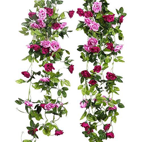 JUSTOYOU 2pcs 7.8FT zweifarbige künstliche gefälschte Rosengirlande Wein hängen Seide Blume künstliche Blume für Außen- und Innenhochzeit Wand schlechte Dekoration (Magenta)