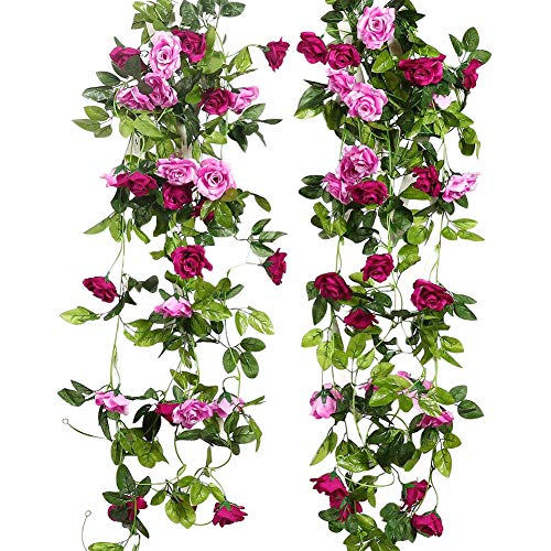 JUSTOYOU 2 Pack 7.8FT 13 Cabezas de Doble Color Artificial Falso Rose Garland Vides Colgando Flores de Seda para la decoración de la Pared de la Boda al Aire Libre Badroom (Magenta)