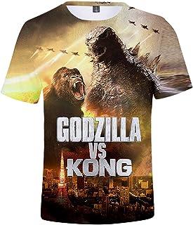 EMILYLE Godzilla VS Kong Mens T-Shirt Women Unisex 3D Print Fans Tee