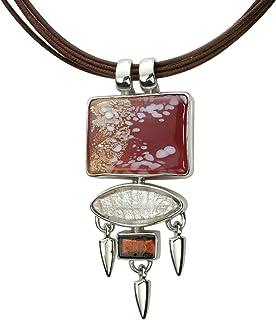 Gabriella Nanni, Collana in cotone cerato con pendente in argento 925 e Vetro di Murano - Collezione Sunset - Collana con ...