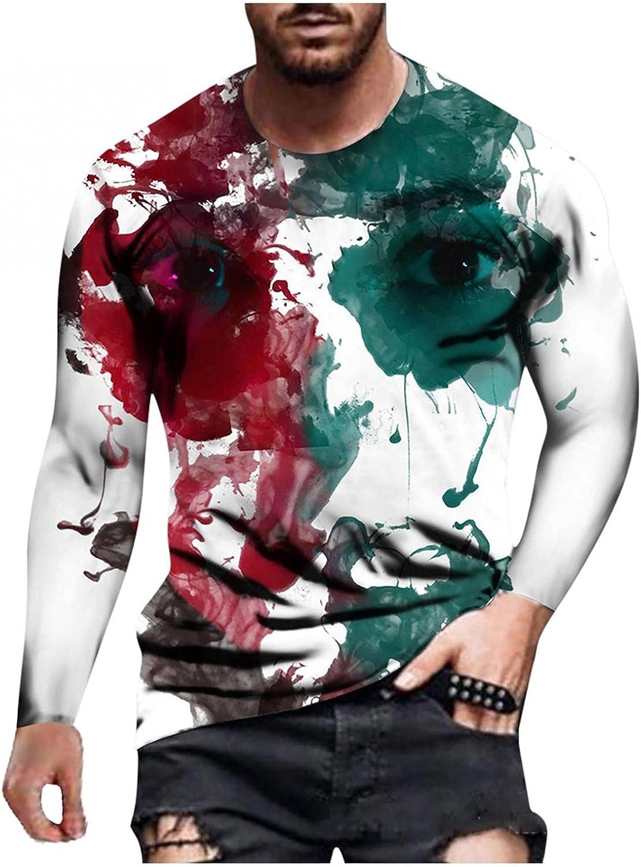 JSPOYOU Men's 3D Graphic Printed Shirts Long Sleeve Crewneck Oil Painting Blouse Fashion Vintage Slim Fit Tops