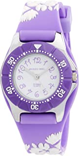 Jacques Farel Girl's Quartz Kids Watch analog Display and Silicone Strap, KWD0602