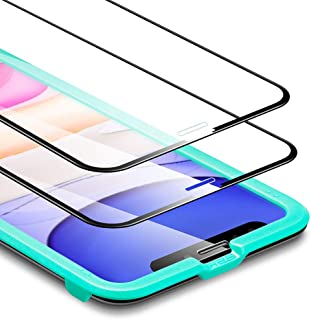 ESR iPhone 11 / iPhone XR ガラス液晶保護フィルム [3D +最大限保護] [全面フルカバー] プレミアム強化ガラスフィルム アイホン6.1インチ (ブラック 2枚セット)