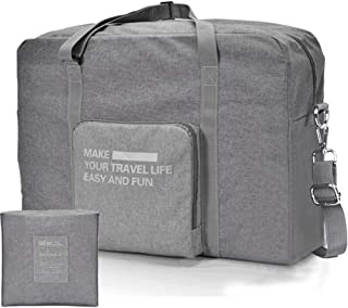 Unisex's Spirit Airline Fodable Personal Item Nylon Carry-on Bag Lightweight Waterproof Duffel Travel Bag Luggage Bag 18''x 14'' x 8'' (Gray with Shoulder Strap)