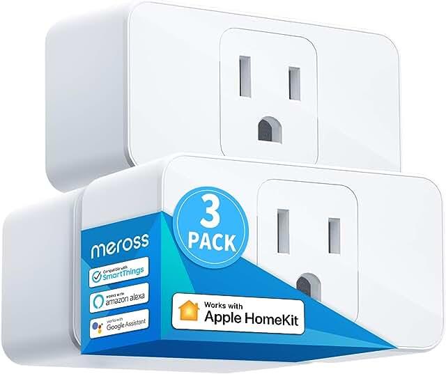 Meross Smart Plug Mini, 16A & Reliable WiFi, Support Apple HomeKit, Siri, Alexa, Echo, Google Assistant, Nest Hub and SmartThings, App Control, Timer, No Hub Needed, 3 Pack