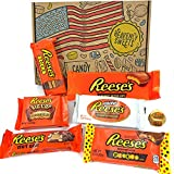 Heavenly Sweets Dulces Reeses Cesta de Chocolate Americano - Chocolates y Mantequilla Mani Favoritos de EEUU - Tazas y Barra - Regalo para Cumpleaños, Navidad - 7 Golosinas, Pack Retro - 25x18x2,5cm