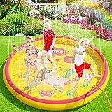 Peradix Splash Pad, 170CM Sprinkler Wasser-Spielmatte Splash Play Matte,Outdoor Sommer Garten Wasserspielzeug Baby Pool Pad Spritzen für Baby, Kinder, Haustiere - Aufblasbar