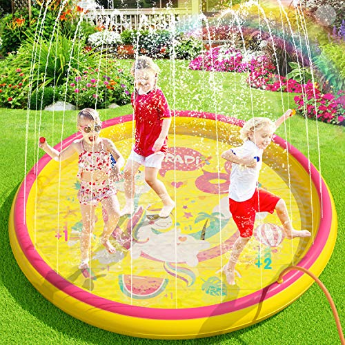 Peradix Sprinkler & Splash Play Mat Pad / Paddling Pool 2 in 1 - Inflatable Outdoor Party Sprinkler Pad Summer /Garden/Beach Water Spray Mat Toys Games For Kids/Children/Toddler Fun (Inflatable)