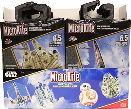 """X-Kites MicroKites Star Wars Assortment of Mylar Mini Kites 6-1/2"""" Tall, 24-Piece PDQ"""
