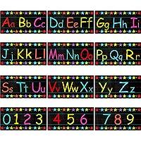 アルファベット掲示板12枚セット アルファベット壁 教室 デコレーション アルファベット数字 掲示板 0-9の数字 粘着ドット付き プレイルーム 寝室 保育園 装飾