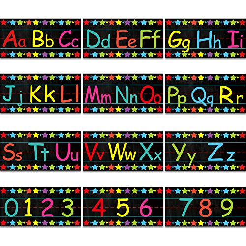 12 Sheets Alphabet Bulletin Board Set Alphabet Wall Classroom Decorations Alphabet Number Bulletin Board Strips Including Numbers 0-9 with Adhesive Dots for Playroom Bedroom Nursery Room Decorations
