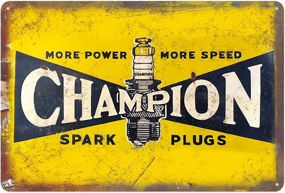 Vintage Champion Spark Plugs Tin Metal Wall Decoration Signs, Original Design Thick Tinplate Wall Art Poster for Garage