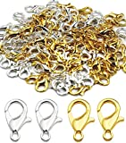 120 Pieces Stainless Steel Lobster Claw Clasps, PinCute Silver & Gold Bracelet Necklace Clasps, Lobster Claw Clasps for DIY Jewelry Findings Making (12x7mm)