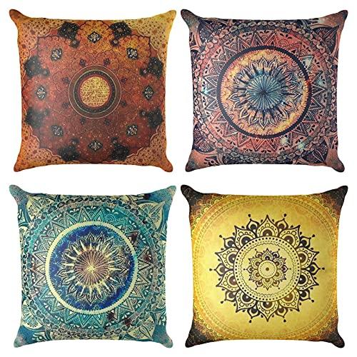 Jodimitty Set di 4 federe decorative per cuscino, 40 x 40 cm, motivo geometrico in cotone e lino, per divano, decorazione della casa, ufficio (esotico)