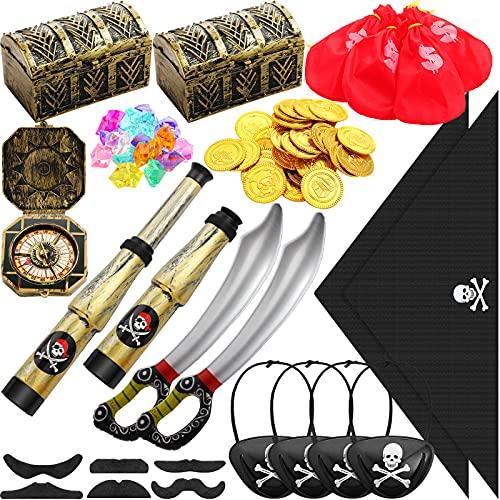 Sumind Favores de Fiesta Pirata Juguetes de Caja de Cofre de Tesoro con Espadas Piratas Inflables Parche de Ojo de Capitán Pañuelo Gemas Monedas de Oro Bigotes Novedosos Brújula Telescopio
