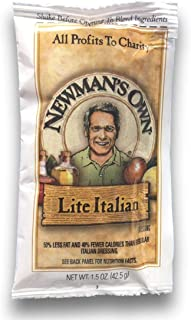 Newman's Own Lite Italian Dressing, 1.5 oz packets, (Pack of 25) Portion Control