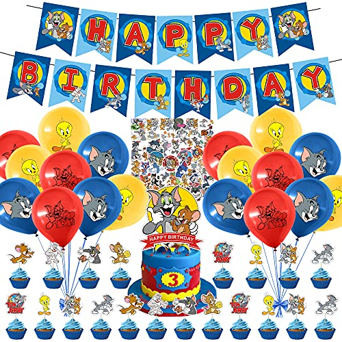 94 Pcs Tom and Jerry Party Supplies, Tom and Jerry Birthday Party Decorations for Kids Adults with Happy Birthday Banner Cake Topper Cupcake Toppers Balloons Stickers