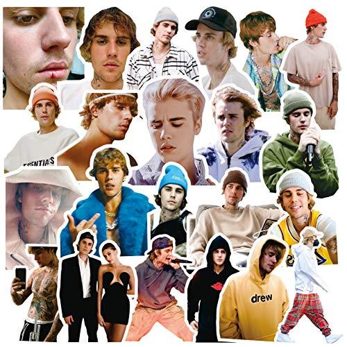 56 Piezas de Pegatinas de Justin Bieber Justin Bieber Hayley Decoración periférica de Estrellas Europeas y Americanas Pegatinas de Caja de teléfono móvil DIY