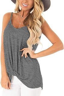 Barlver Sexy V Neck Tank Tops for Women Twist Knot Shirt Plain Camisole Sleeveless Tunic Blouse