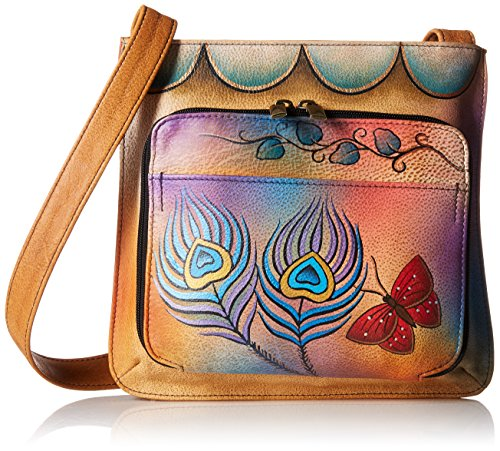 Anna by Anuschka Genuine Leather Slim Shoulder Organizer | Hand-Painted Original Artwork | Peacock Butterfly