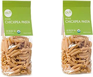 Olo Organic Chickpea Pasta - 2-Pack 8.82 oz Plant-Based, Bronze-Cut Pasta - High Protein Gluten-Free - PENNE- Ideal for Healthy and Quick Meals - Crafted in Italy