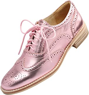 Women's Comfort Leather Sole Perforated Lace Up Wingtip Vintage Handmade Oxford Flats Shoes